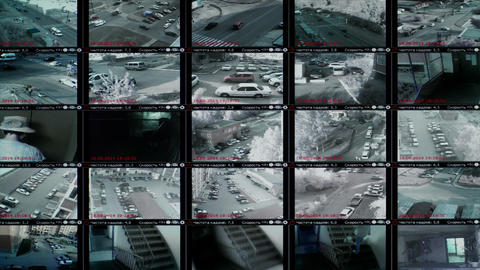4K UHD Stock footage Security Video Monitor Wall Stock Video Footage