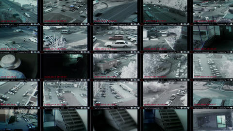 4K UHD Stock footage Security Video Monitor Wall Footage