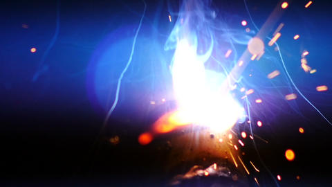 Stock Footage Welding Sparks Fireworks Slow Motion Footage