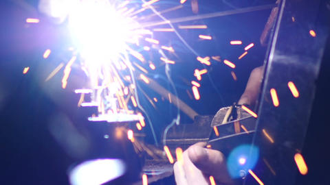 Stock Footage Welding Works Closeup Slow Motion Stock Video Footage