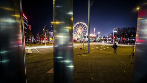Funfair Timelapse in the night - DSLR dolly shot Footage