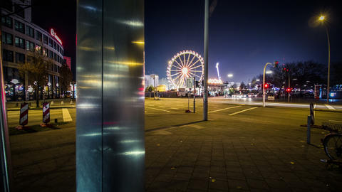Funfair Timelapse in the night - DSLR dolly shot Stock Video Footage