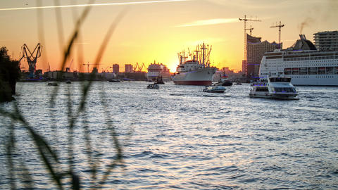 Ship Dance On The Hamburg Elbe River - DSLR Dolly  stock footage