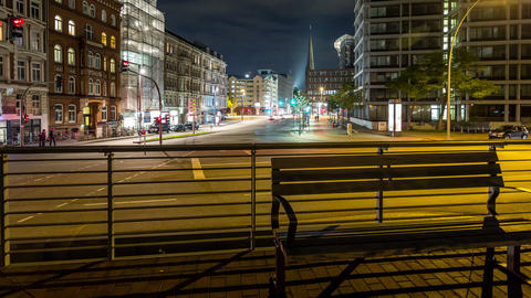 Hamburg city life by night - DSLR dolly shot time  Footage