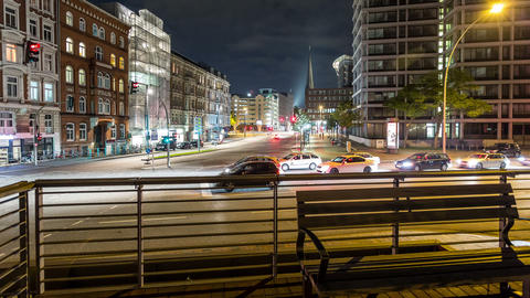 Hamburg city life by night - DSLR dolly shot time Stock Video Footage