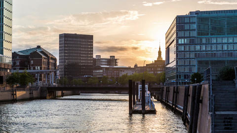Hamburg city with modern architecture - sunset DSL Footage