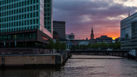 Hamburg city with modern architecture - sunset DSL Stock Video Footage