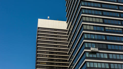 Office building with window cleaner - Hamburg Mund Stock Video Footage