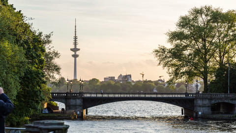 Hamburg Alster Lake with tv tower - DSLR hyper lap Footage