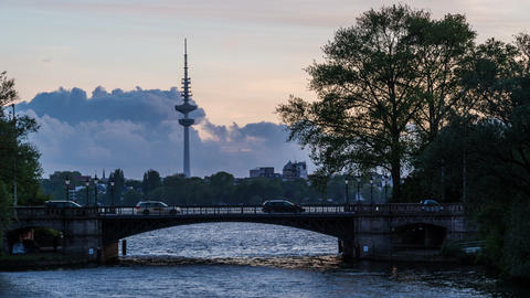 Hamburg Alster Lake with tv tower - DSLR hyper lap Stock Video Footage