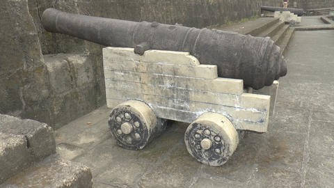 vintage cannon view from the side Stock Video Footage