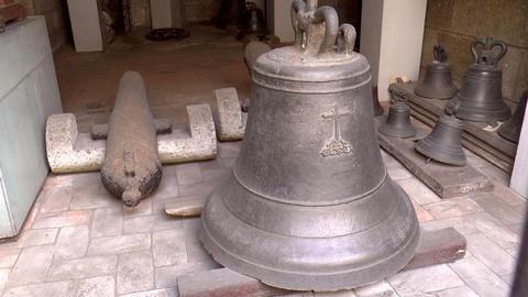 vintage huge bell display Stock Video Footage