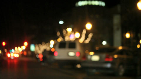 Driving Along A Holiday Decorated City Street stock footage