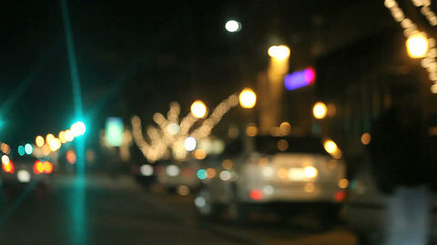 driving along a holiday decorated city street Stock Video Footage