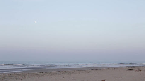 moon hangs over the sea near the sandy beach Footage