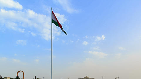 The highest flagpole with flag. Dushanbe, Tajikist Stock Video Footage
