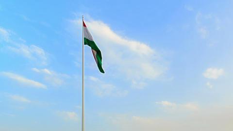 The highest flagpole with flag. Dushanbe, Tajikist Footage