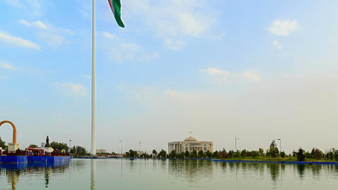 Flagpole with a flag. Dushanbe, Tajikistan. Time L Stock Video Footage