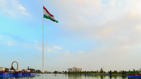 Palais des Nations and flagpole with a flag. Dusha Stock Video Footage