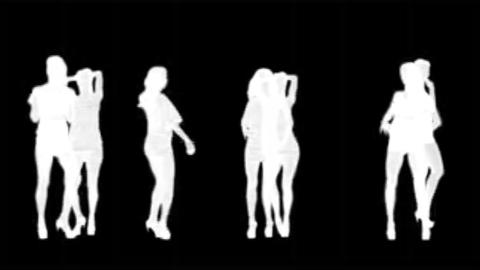 women silhouettes dancing (white ) alpha Stock Video Footage