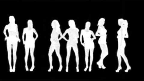 women silhouettes dancing (white ) alpha Footage