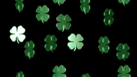 3 D lucky clover group falling alpha Stock Video Footage
