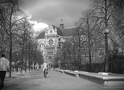 Old Paris Park And Man With Bicycle Footage