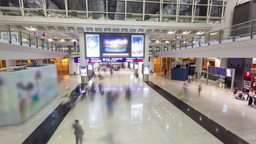4k Hyperlapse Video Of Commuters In An Airport stock footage