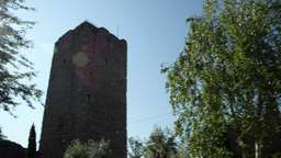 Panoramic Medieval Tower Small Town In Italy Footage