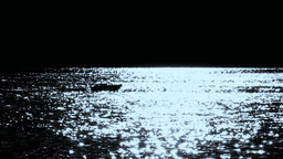 Small Boat At Night Moon Reflections Lake Of Como  Footage