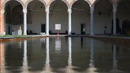Water reflections in Castello Sforzesco Milan Ital Footage