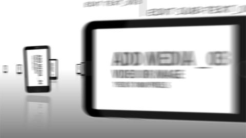 Animated smart phones going through the screen After Effects Template