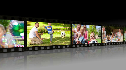 Large Film strip scrolling through the screen After Effects Template