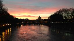 Beautiful Sunset In Rome Italy Footage