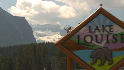 HD2009-8-1-2 lake Louise sign and glacier establish Z Stock Video Footage