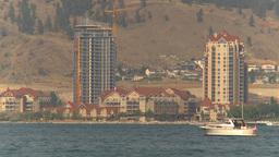 HD2009-8-1-6 Kelowna skyline and lake x2 Stock Video Footage