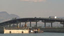 HD2009-8-1-8 Kelowna traffic on big bridge Stock Video Footage