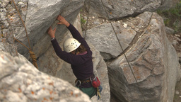 HD2009-8-2-6 rockclimbing down Stock Video Footage