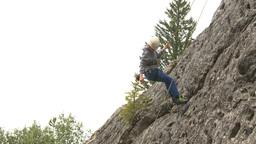 HD2009-8-4-10 rock climbing abseil Stock Video Footage