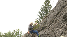 HD2009-8-4-10 rock climbing abseil Stock Video Footage