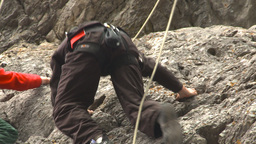 HD2009-8-4-12 rock climbing Stock Video Footage