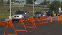 HD2009-8-5-8 detour traffic paving Stock Video Footage