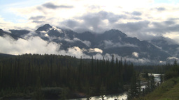HD2009-8-8-7 clouds and mtns river Stock Video Footage