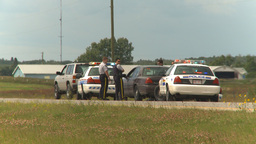 HD2009-8-9-1 many police cars on highway Stock Video Footage