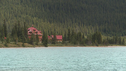 HD209-8-11-12 red roofed lodge and lake Stock Video Footage
