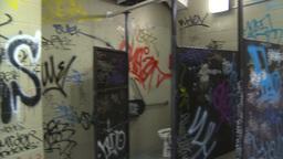 HD2009-8-20-6 graffitti bathroom Stock Video Footage