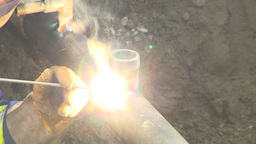 HD2009-8-20-12 gas pipe welding Stock Video Footage