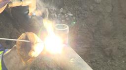 HD2009-8-20-12 gas pipe welding Stock Video Footage