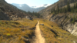 HD2009-8-20-28 hike along mtn trail Stock Video Footage