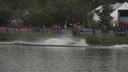 HD2009-8-23-2RC water ski comp stunt jump barefoot Stock Video Footage